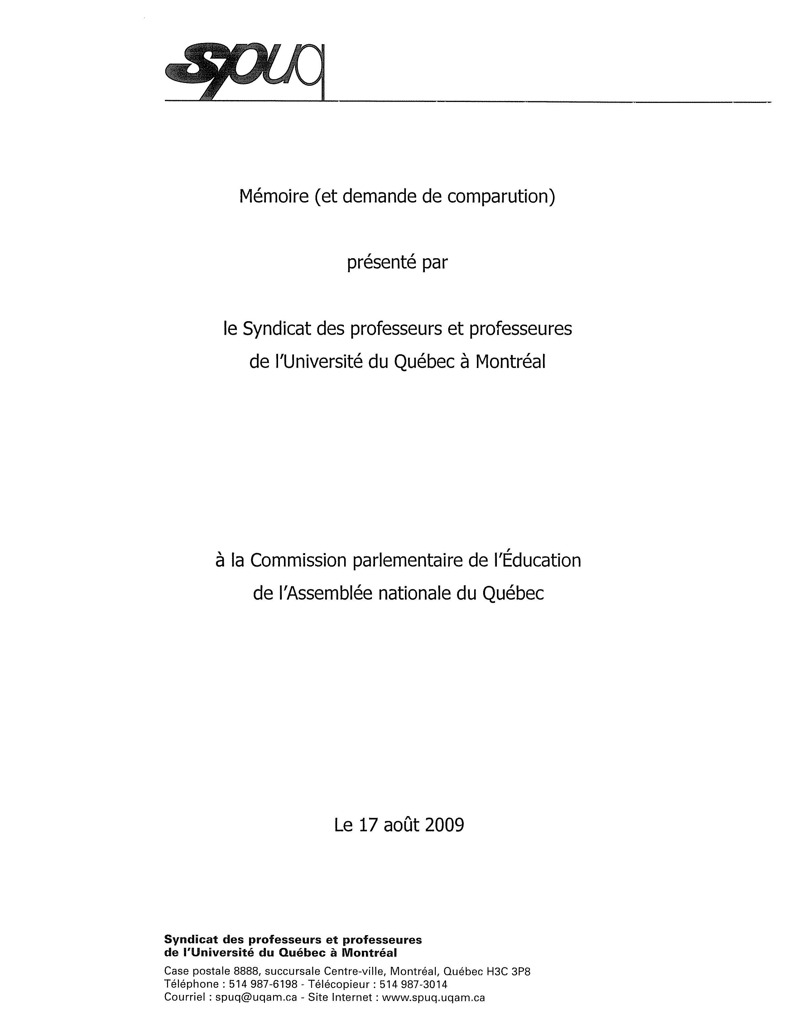 Syndicat Des Professeurs De L Uqam Spuq Info Et